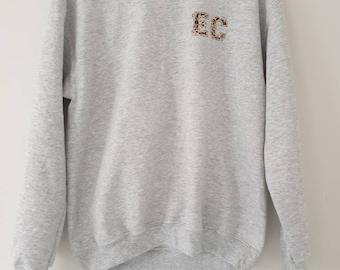 Womens boyfriend leopard print initial personalised sweatshirt jumper 8ef410282