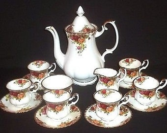 Royal Albert Old Country Roses Coffee set. 15 piece