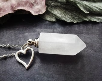 mini keepsake ashes for loss gift necklace for ash mini urn locket jewelry cremation stone crystal bottle clear pink quartz gold necklace