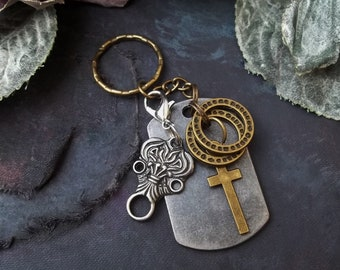 2 in 1 zipper charm metal army military dog tag keyring for him boyfriend gift cross tribal pendant gothic jewelry soldier gift christmas
