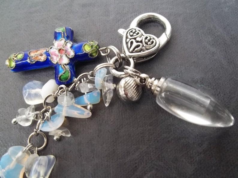 Teardrop Urn Fillable Locket Human Ashes Cremation Keychain Cloisonne Flowers Cross Urn Jewelry Birthstone Sapphire Women Memorial Gift