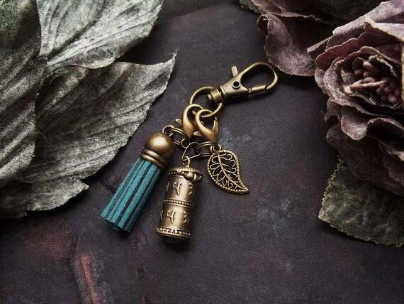 2 in 1, Zipper Charm, Prayer Box, Locket Wish Box, Mantra Jewelry, Mala Box Pendant, Mini Urn Box, Turquoise, Sweden Tassel, Leaf, Girl Gift