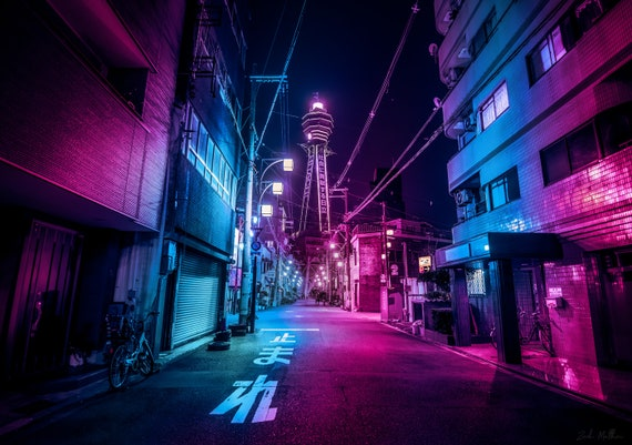 Cyberpunk Japan wall art neon lights urban art Osaka city ...
