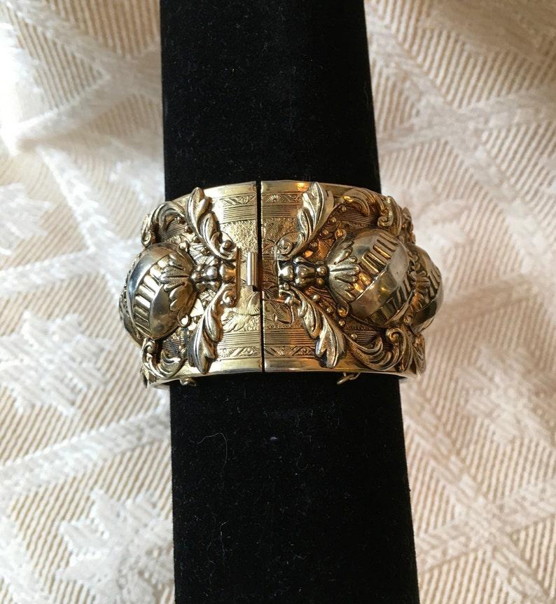 Repousse Brass Cuff Bracelet
