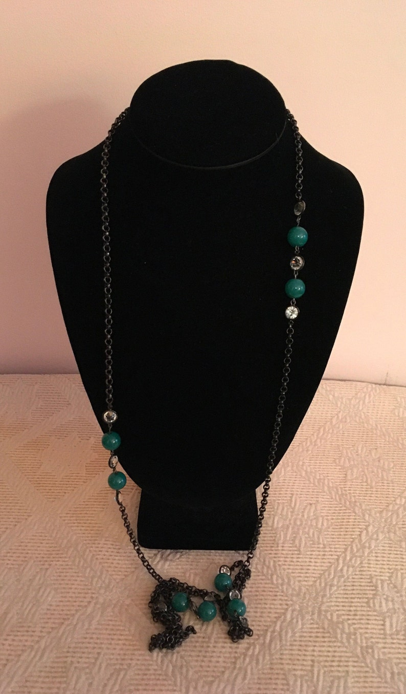 Long Chain with Green Beads