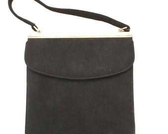 Vintage Block black suede evening bag