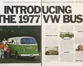 1977 Introducing the '77 VW Volkswagen Bus Green & White 2 Page Print Ad