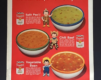 1963 Campbell's Soup Split Pea Vegetable Bean Chilli Beef He Man Soups Farmer Cowboy Print Ad