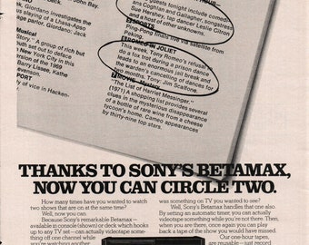 1977 Thanks To Sony Betamax Console Now You Can Circle Two Print Ad