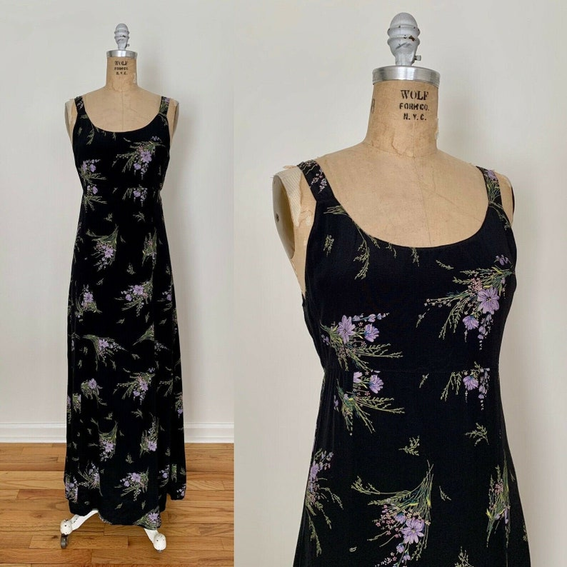 Vintage 1990/'s EXPRESS Black And Purple Romantic Floral Maxi Dress Cottagecore Grunge Size Medium