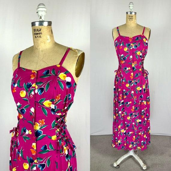 Vintage 1990's Pink Prairie Floral Midi Summer Sun