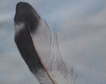 In Flight Original Watercolor Painting 7.5 inches by 10 inches Feather Native American