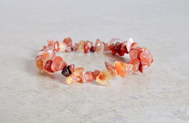 CHARGED Carnelian Crystal Tumbled Gemstone Bracelet in GIFT BOX Stretchy