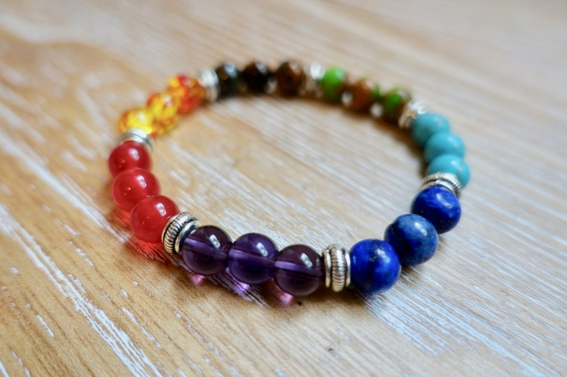 Rebirth Stone Bracelet 7 Chakras 8mm Beads Natural Gemstone Healing Rock Reiki Gift Love Silver Handmade Wristband Meditation Home Yoga
