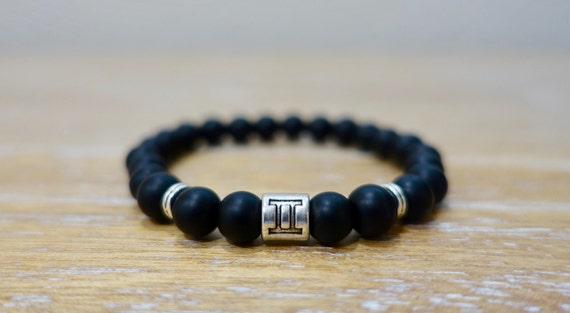 Pisces Zodiac Sign Coin Charm Black Onyx Matte Bracelet 8MM Beads Natural Gemstone Stretch Bracelet Healing Handmade Yoga MenWomen Bracelet
