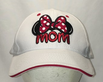 6c1476071dbd0 Vintage Disney Hat Minnie Mouse Ears Mom Baseball Cap White Red Black  Womens Hats Theme Parks Ladies Caps Gifts For Women T62 A9053