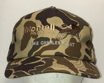 d9857a39190 Vintage Camo Snapback Hat Montell Lake Charles Plant Hunting Dad Cap Men  Hats T23 AG8072
