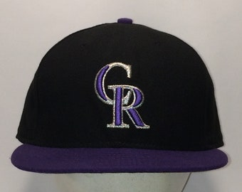 on sale 98792 751e4 Colorado Rockies Hat Black Purple MLB Baseball Cap Vintage 90s New Era Made  In USA Fitted Hats sz 7 1 2 Christmas Gifts For Men T8 JN8080