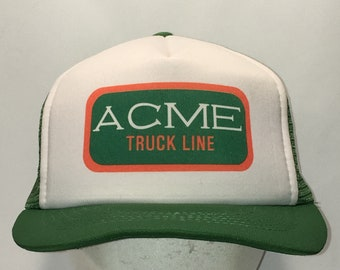 88ffd1f18a2 Vintage Trucker Hat ACME Truck Line Dad Cap Green White Snapback Hats For Men  Gifts T59 S8192