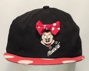 Vintage Minnie Mouse Snapback Hat Youth Girls Kids Hats Goofys Hat Co Black  Red White Polka Dot Disney Baseball Cap T59 S8182 1acb1295c290