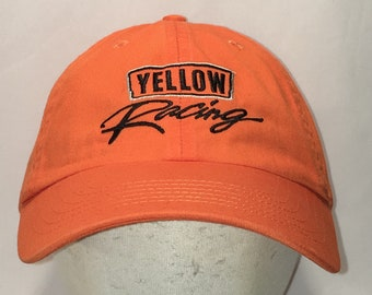 b6ad8a3f5d035 Vintage Yellow Racing Hat Orange Black Strapback Baseball Cap Cars Trucks  Automotive Machinery Dad Hats Gifts For Men T123 MA9049