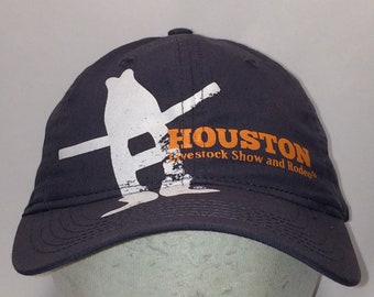 a8ba1b7f Vintage Houston Livestock Show and Rodeo Hat Gray White Orange Baseball Cap  Western Rodeo Cowboy Hats For Men T13 JL8053
