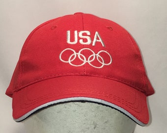 1a6192a9b34d1 Vintage Hats Team USA Olympic Rings Baseball Cap Hat Red White Lightweight Sports  Caps For Men T89 J9077