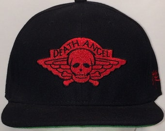 e290343a Vintage Snapback Hat Death Angel Baseball Cap Heavy Metal Band Black Red  Skull Crossbones Musician Singer Dad Hats Gifts For Guys T11 A8009