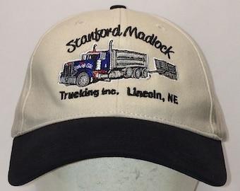 caf3893c0c5 Stanford Madlock Trucking Inc Dump Trucks Hat Beige Black Dad Hat Baseball  Caps For Men T16 JL8077