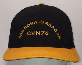 f0159ad0568 Vintage USS 455 Ronald Reagan CVN 76 Snapback Hat Black Gold Navy Naval  Aircraft Carrier Dad Hat Baseball Cap Sports Hats Caps T7 D7092