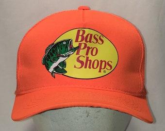 1d85303b62c29 Bass Pro Shops Gone Fishing Hat Blaze Orange Snapback Baseball Cap Fish  Fisherman Angler Dad Caps Hats Vtg 90s Gifts For Men T104 MA9037