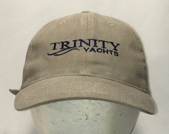 9d1fab5f7ff74 Vintage Trinity Yachts Hat Beige Blue Strapback Baseball Cap Boats Ships Dad  Hats Nautical Sports Beach Fishing Gifts For Men T3 MA9050