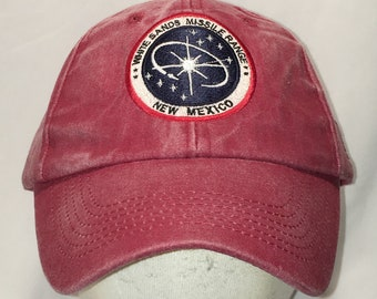 09ee83c225d Vintage 90s White Sands Missile Range Hat Red Blue Baseball Cap Army  Military Dad Hats Cool Caps Unique Gifts For Men T123 A9077