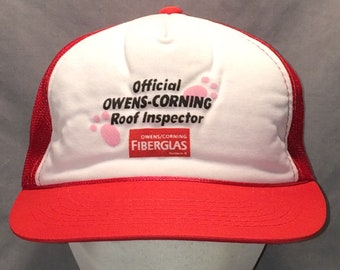 c0dcaaabf7c Vintage Trucker Hat Cap Red White Snapback Hats For Men The Official Owens  Corning Roof Inspector Mesh Back Ball Cap Dad Hat T85 MA8028