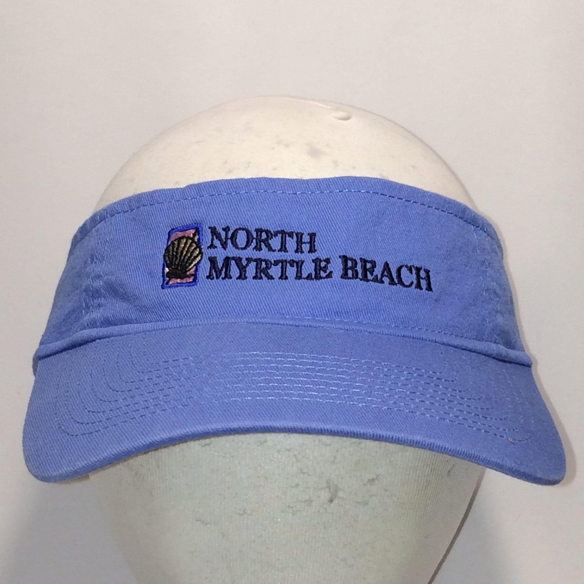 b11f6240181 Vintage Sun Visor Hat Blue Black Pink North Myrtle Beach Hat