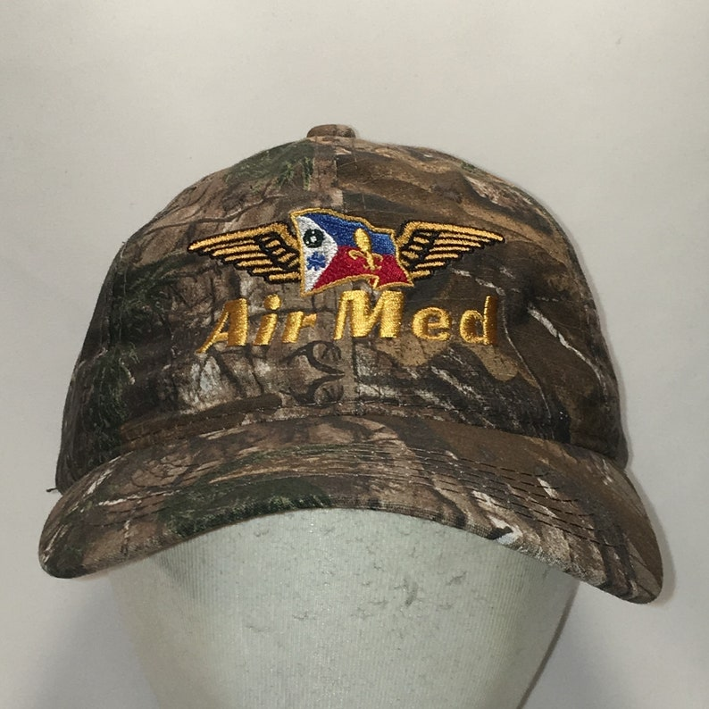 1233b77dfe Vintage AirMed Realtree Camo Baseball Cap Mens Caps Hats Aircraft  Helicopters Airplanes Medical Dad Hat Unique Gifts For Men T91 M9092