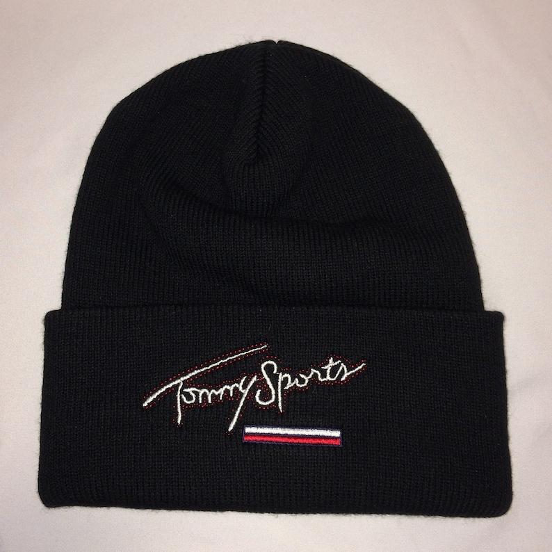 757685d1a Vintage Tommy Sport Beanie Hat Black Winter Beanies For Men Cool Dad Caps  Black Toboggan Stretch Knit Cap T19 N7031