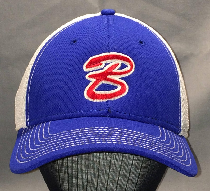 48147139a0e60 Vintage Baseball Cap Flexfit Hat Blue White Letter B Initial