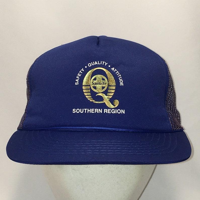 203ebeaa9813c Vintage Trucker Hat Santa Fe Railroads Blue Mesh Snapback Hats