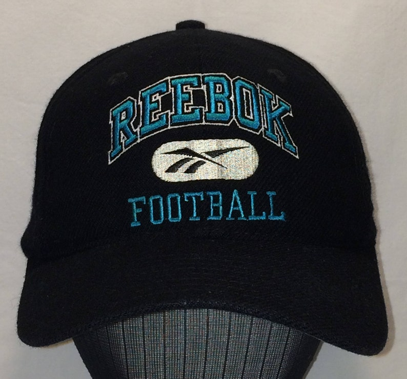 96ca10f2325 Vintage Reebok Football Snapback Hat Black Blue Gridiron Hats