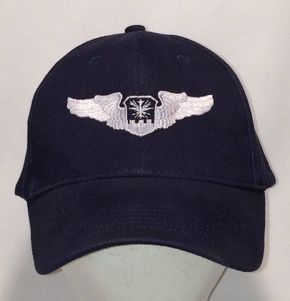Vintage Baseball Cap Military Hat Navy Blue Silver Wings  ffc9544147d