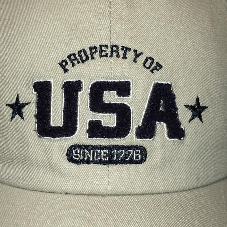 6025de0abb092 Vintage Property of USA Baseball Cap Hats For Men Off White