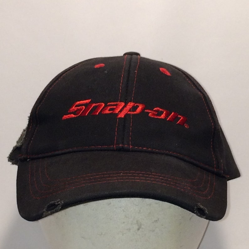 020b5125 Vintage Snap On Tools Hat Distressed Hats Black Red Working   Etsy