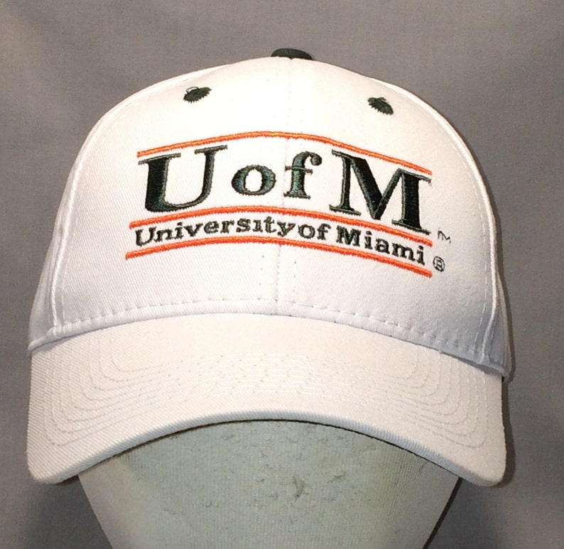 58feda55d07 Vintage University of Miami Hurricanes Hat Snapback Baseball