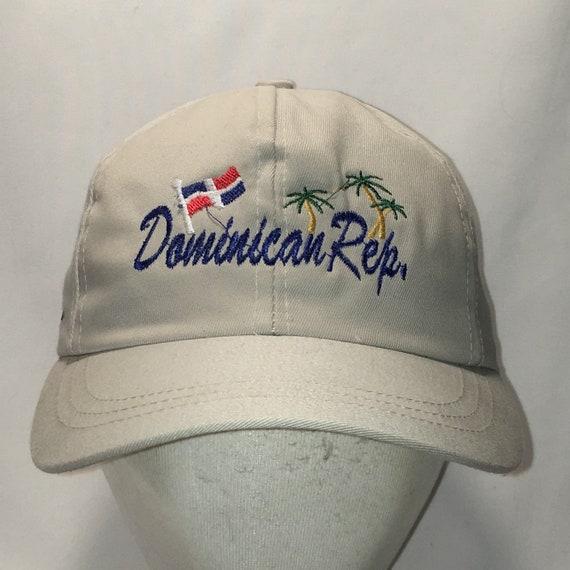Vintage Dominican Republic Hat Beige Blue Adjustable Baseball  011eff5d0f4