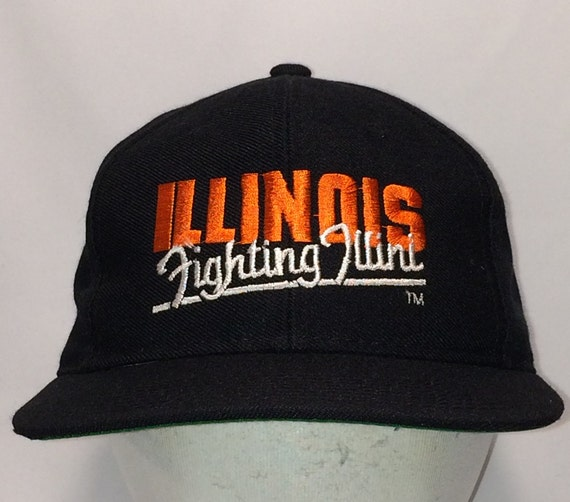 new style f87d6 34a3c Vintage Hats University of Illinois College Snapback Hat   Etsy