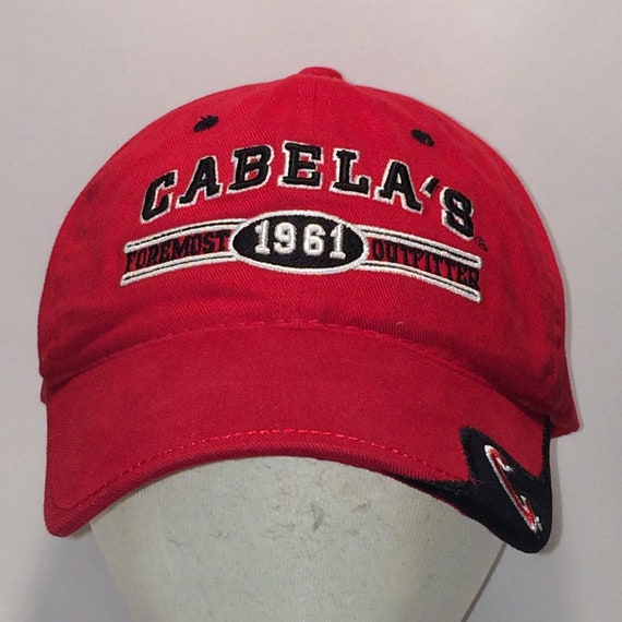 Vintage Cabelas Strapback Hat Dad Cap Black Red Hunting  1f8ddb2990f