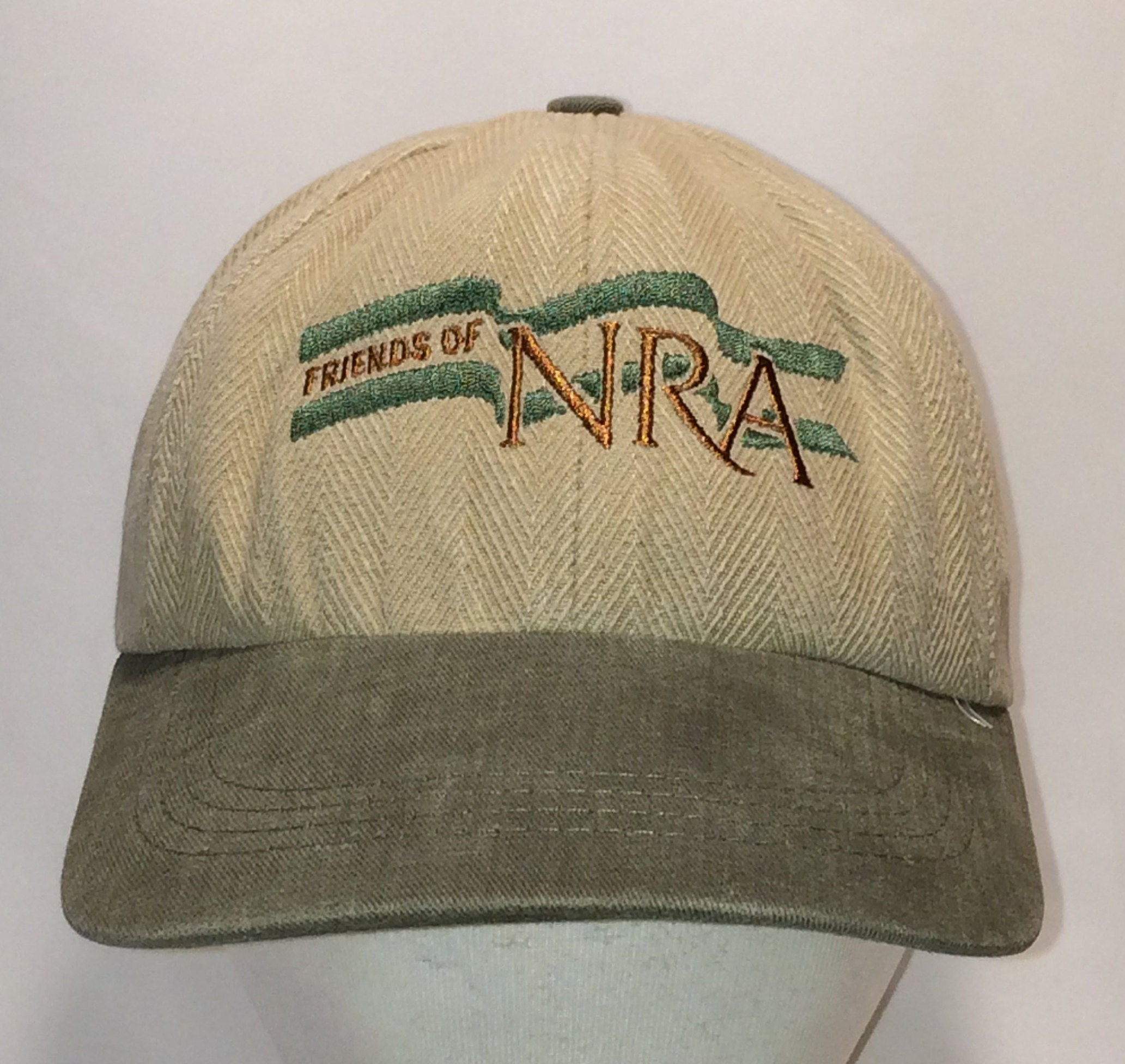 Vintage Baseball Cap Friends of NRA Hat Beige Green National  6174fafd499