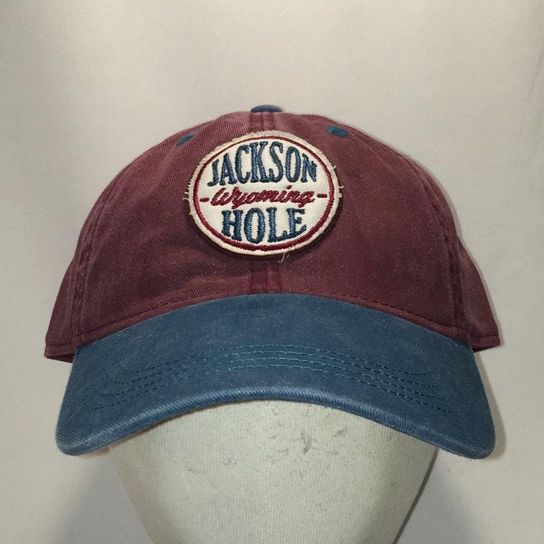 d18f3e35a72fb7 Vintage Baseball Cap Jackson Hole Wyoming Dad Hat Faded Maroon | Etsy
