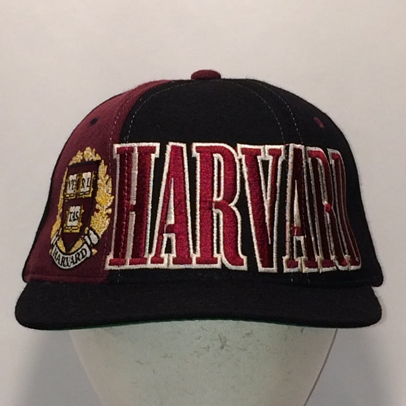 ed8864a0937 Vintage Harvard University Snapback Hat Black Maroon Baseball